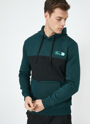 Koton Kapüşonu Uzun Kollu Cep Detaylı Sweatshirt Yeşil